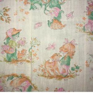 Girls Puppies Kitties Vtg Fabric 43 x 48 Cat Dog